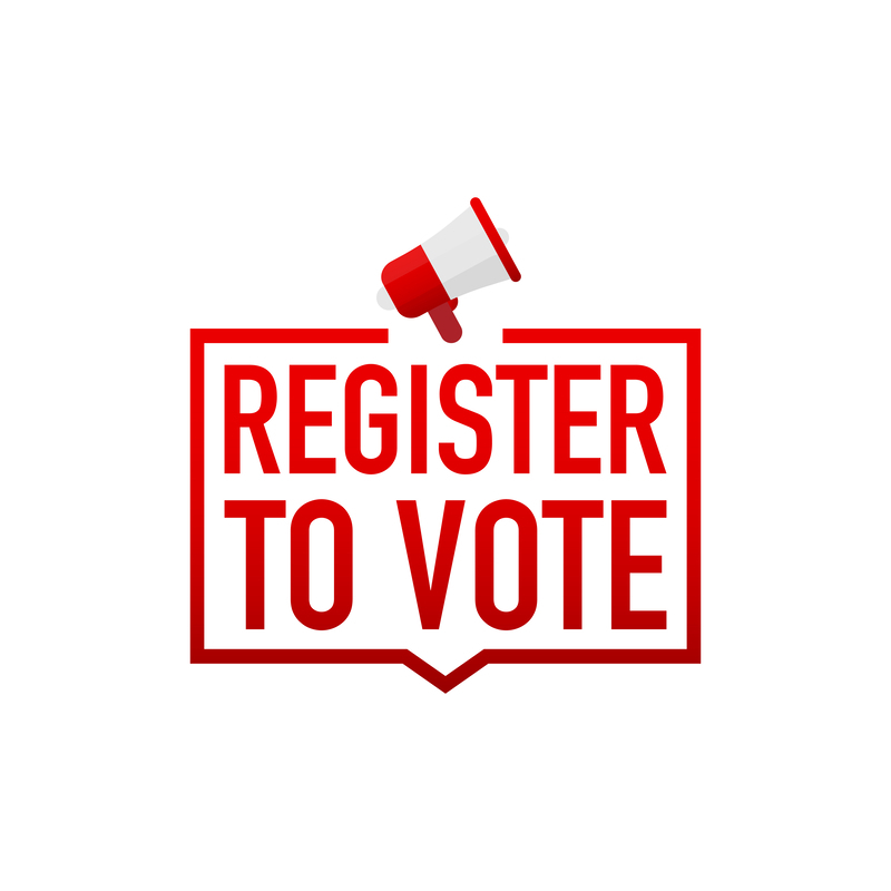 register to vote in red words